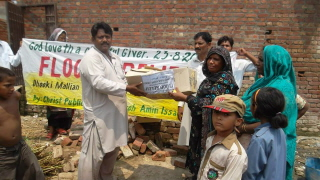Boxes were distributed to flood victims.