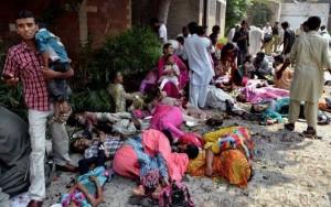 Scene of the bomb blasts in Peshawar