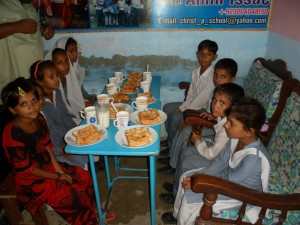 The feeding program started with 8 students.