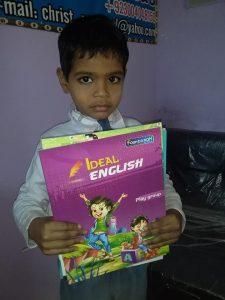 boy with school books