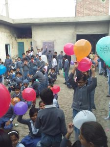 kids celebrate the school's birthday