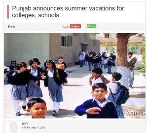 Pakistan news article about summer vacations